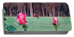 Horse And Roses Portable Battery Charger