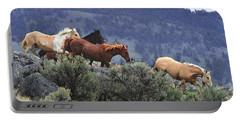 Horses On A Downhill Run Portable Battery Charger