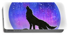 Howling Wolf Silhouette Galaxy Portable Battery Charger