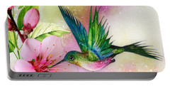 Hummingbird On Pink Blossom Portable Battery Charger