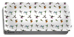 Portable Battery Charger featuring the digital art Hummingbirds Of Trinidad And Tobago On White by Rachel Lee Young