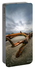 Hurricane Florence Beach Log - Portrait Portable Battery Charger