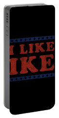 Portable Battery Charger featuring the digital art I Like Ike by Flippin Sweet Gear