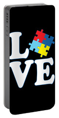 Portable Battery Charger featuring the digital art I Love Autism by Flippin Sweet Gear