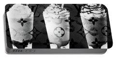 I Love My Frappuccino In Bw Portable Battery Charger