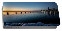 Icy Chicago Skyline At Dawn  Portable Battery Charger