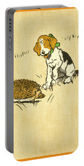 Puppy And Hedgehog, Illustration Of Portable Battery Charger