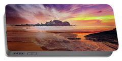 Incoming Tide At Sunset Portable Battery Charger