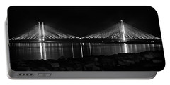 Portable Battery Charger featuring the photograph Indian River Bridge After Dark In Black And White by Bill Swartwout Fine Art Photography