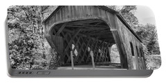 Inside The Eureka School House Covered Bridge Black And White Portable Battery Charger