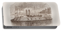 Ironclad River Gunboat Engraving - Union Civil War Portable Battery Charger