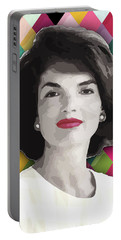 Portable Battery Charger featuring the painting Jackie Geometric by Carla B