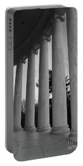 Jefferson Memorial In Black And White Portable Battery Charger