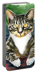 Jess Tabby Cat Painting Portable Battery Charger
