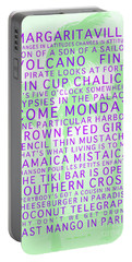 Jimmy Buffett Songs We Know By Heart Purple Font Light Green Palms Portable Battery Charger