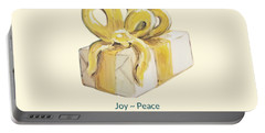 Portable Battery Charger featuring the painting Joy, Peace And Presents by Maria Langgle