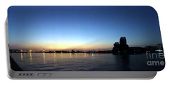Kaohsiung Port At Dusk Panorama Portable Battery Charger