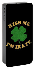 Portable Battery Charger featuring the digital art Kiss Me Im Irate Vintage by Flippin Sweet Gear