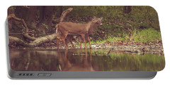 Portable Battery Charger featuring the photograph Kissing Deer Reflection by Dan Sproul