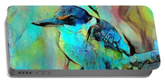 Portable Battery Charger featuring the painting Kookaburra Blues by Chris Armytage