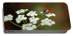 Ladybug In White Portable Battery Charger