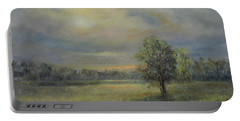 Landscape Of A Meadow With Sun And Trees Portable Battery Charger