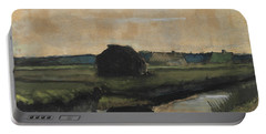 Landscape With A Stack Of Peat And Farmhouses Portable Battery Charger