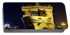 Large Ferry Docked In Port By Night Portable Battery Charger