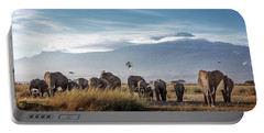 Large Herd Of African Elephants In Front Of Kilimanjaro Portable Battery Charger
