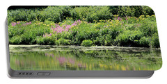 Lavender And Gold Reflections At Chicago Botanical Gardens Portable Battery Charger