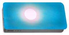 Portable Battery Charger featuring the photograph Leo Blue Moon In Turquoise by Judy Kennedy