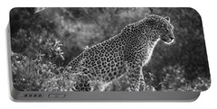 Leopard Sitting Black And White Portable Battery Charger