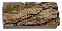 Lichen Covered Ledge In Colorado National Monument Portable Battery Charger