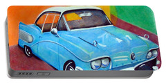 Light Blue 1950s Car  Portable Battery Charger