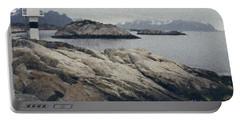 Lighthouse On Rocks Near The Atlantic Coast, Digital Art Oil Pai Portable Battery Charger