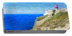 Lighthouse On Top Of A Cliff Overlooking The Blue Ocean On A Sunny Day, Painted In Oil On Canvas. Portable Battery Charger