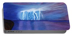 Lightning On The Sea At Night Portable Battery Charger