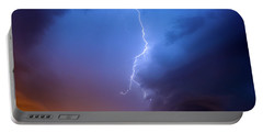 Lightning Strikes High Up In  The Dramatic Dark Blue Stormy Sky At Dawn. Portable Battery Charger
