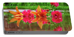 Lilies And Roses Reflection Portable Battery Charger