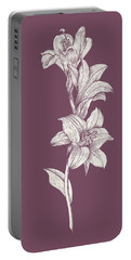 Lily Purple Flower Portable Battery Charger