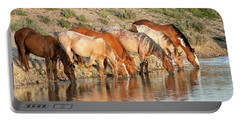 Lineup At The Pond-- Wild Horses Portable Battery Charger