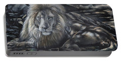 Lion In Dappled Shade Portable Battery Charger