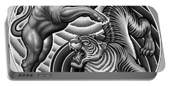 Lion Tiger Fight  Portable Battery Charger