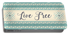 Live Free - Boho Chic Ethnic Nursery Art Poster Print Portable Battery Charger