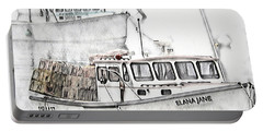 Portable Battery Charger featuring the digital art Lobster Boat - Mount Desert Island by Pennie McCracken