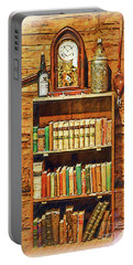 Log Cabin Book Case Sketched Portable Battery Charger