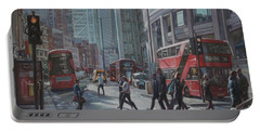 Portable Battery Charger featuring the painting London Bishopsgate by Martin Davey