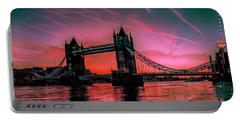 London Tower Bridge Sunrise Pano Portable Battery Charger