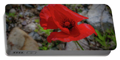 Lone Red Flower Portable Battery Charger