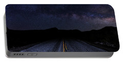lonely Desert Road on a Starry Desert Night  Portable Battery Charger